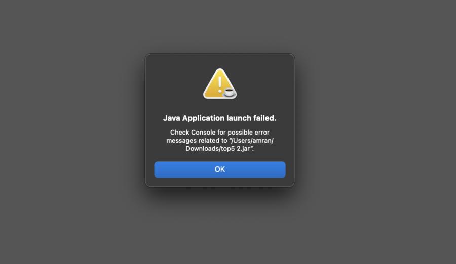 Java program error on Mac